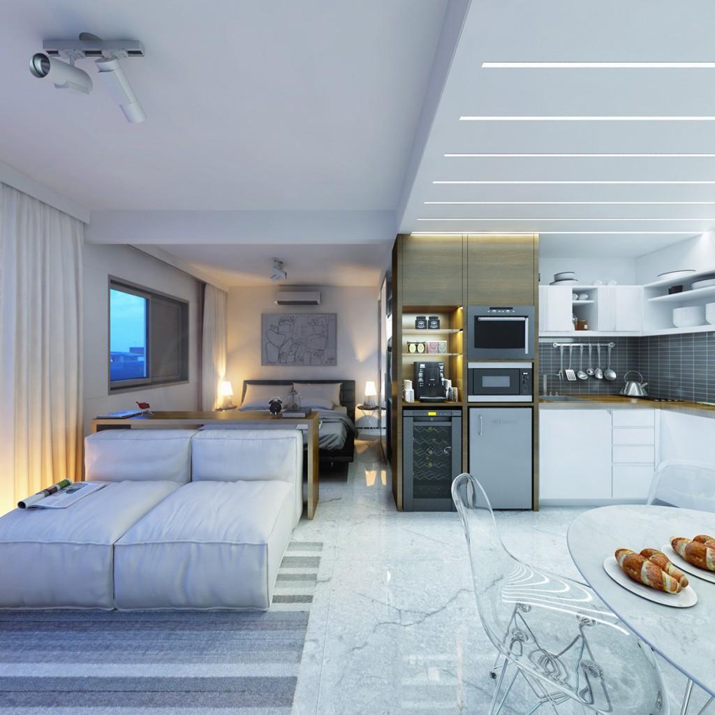 Diseño de interiores de departamento pequeño un dormitorio