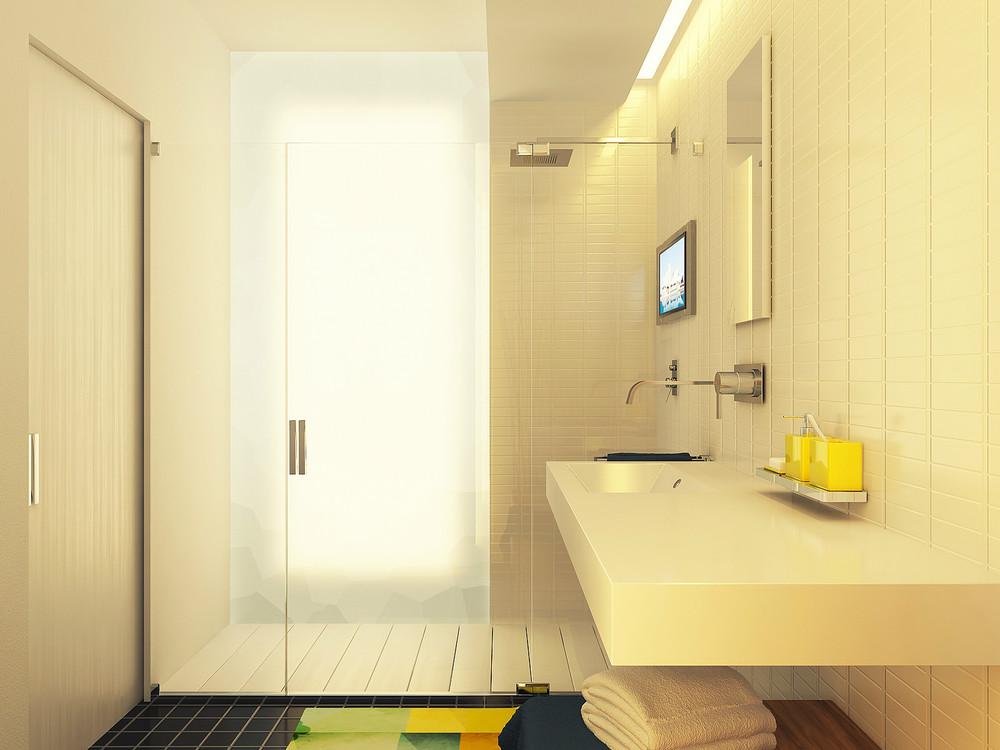 Diseño de cuarto de baño color blanco y pisos negros