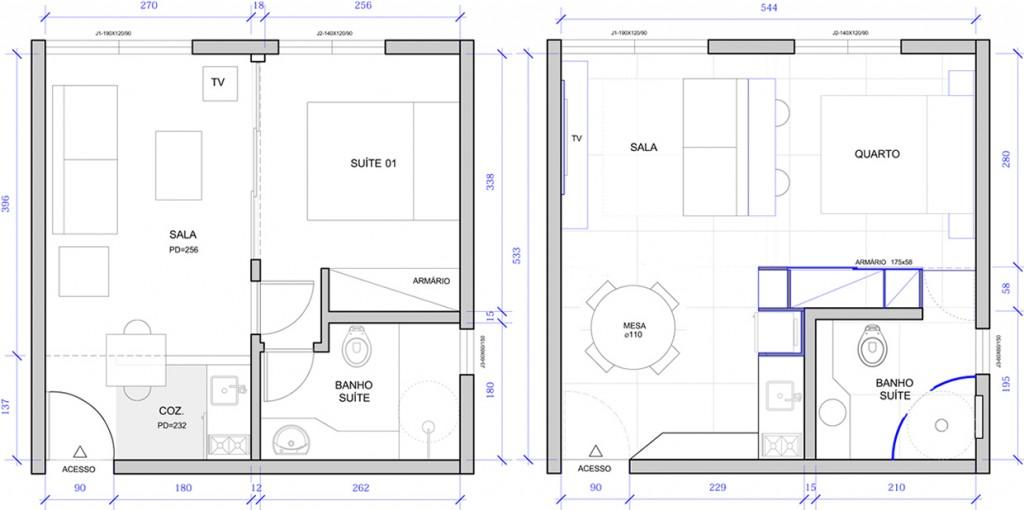Plano de departamento pequeño de 30 metros cuadrados