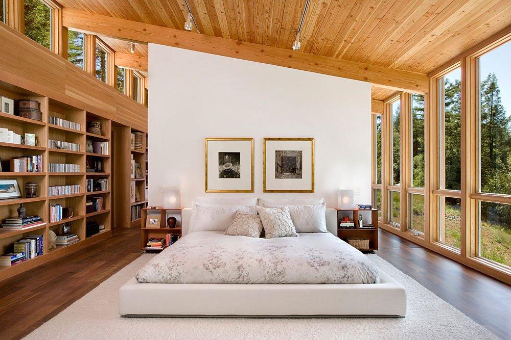 Diseño de dormitorio de madera en casa de campo