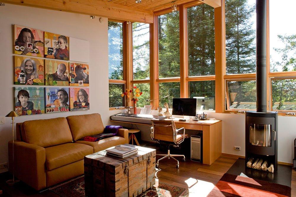 Diseño de cuarto de estudio de casa de madera