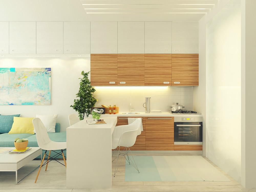Diseño de pequeña cocina con isla de departamento