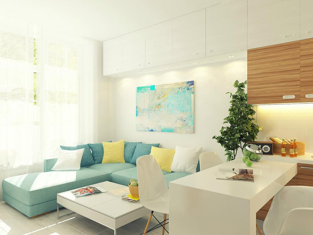 Diseño de sala de pequeño departamento