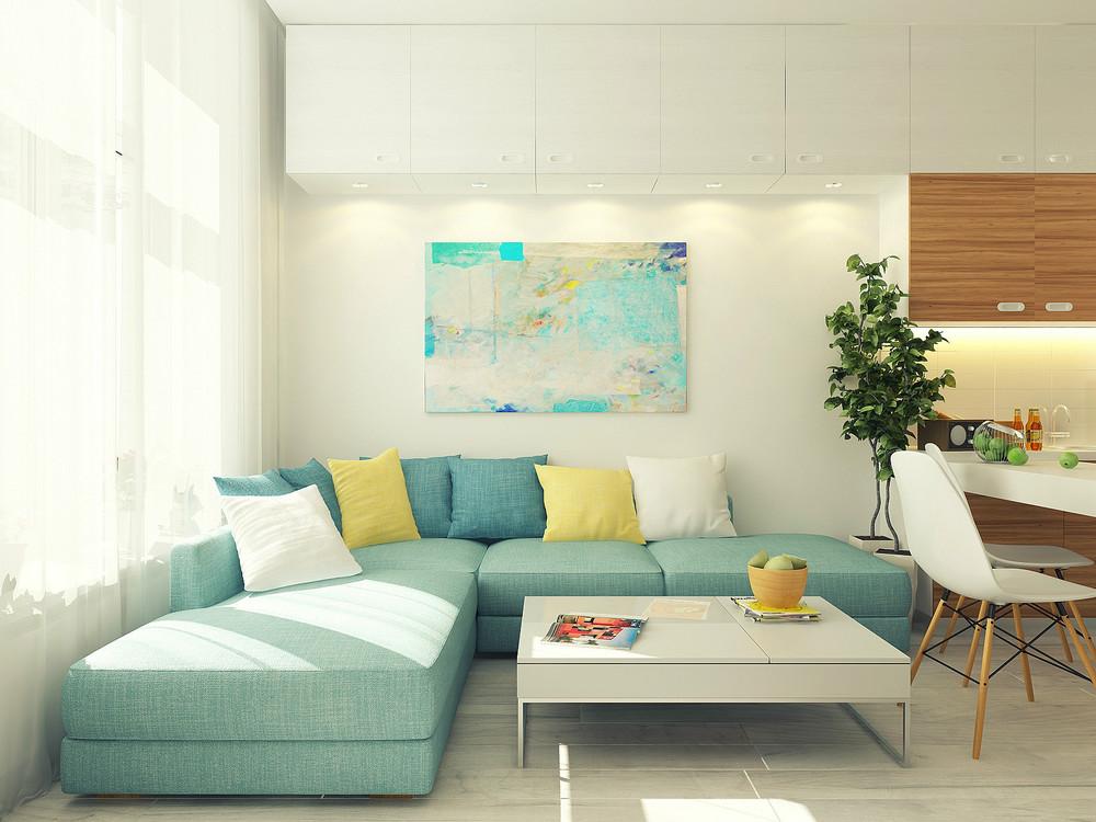 Diseño de sofá esquinero color verde pastel