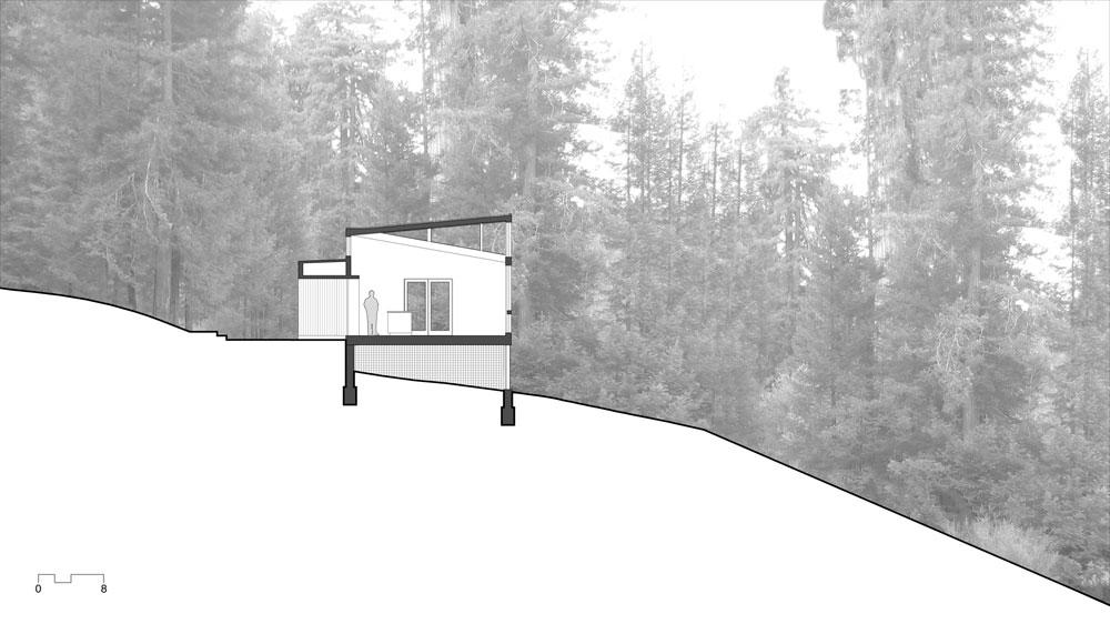 Plano de corte de casa de campo moderna