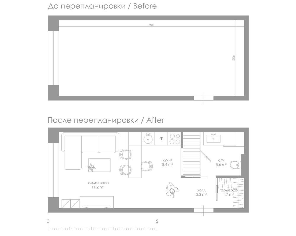 Plano de departamento pequeño de 30 m2 angosto