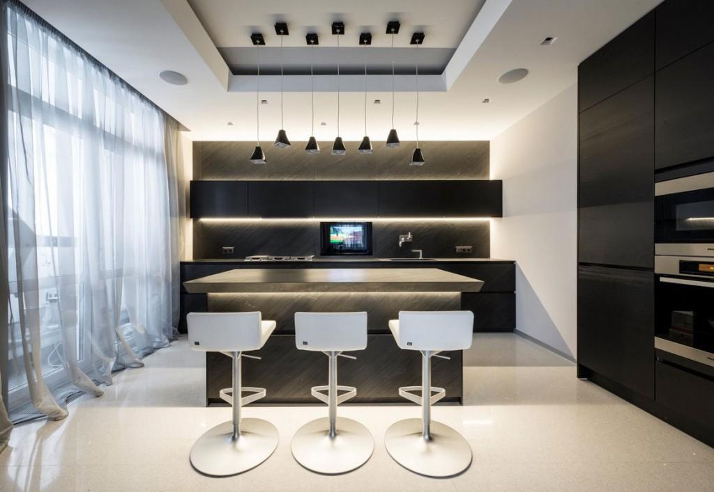 Diseño de cocina color negro estilo moderno