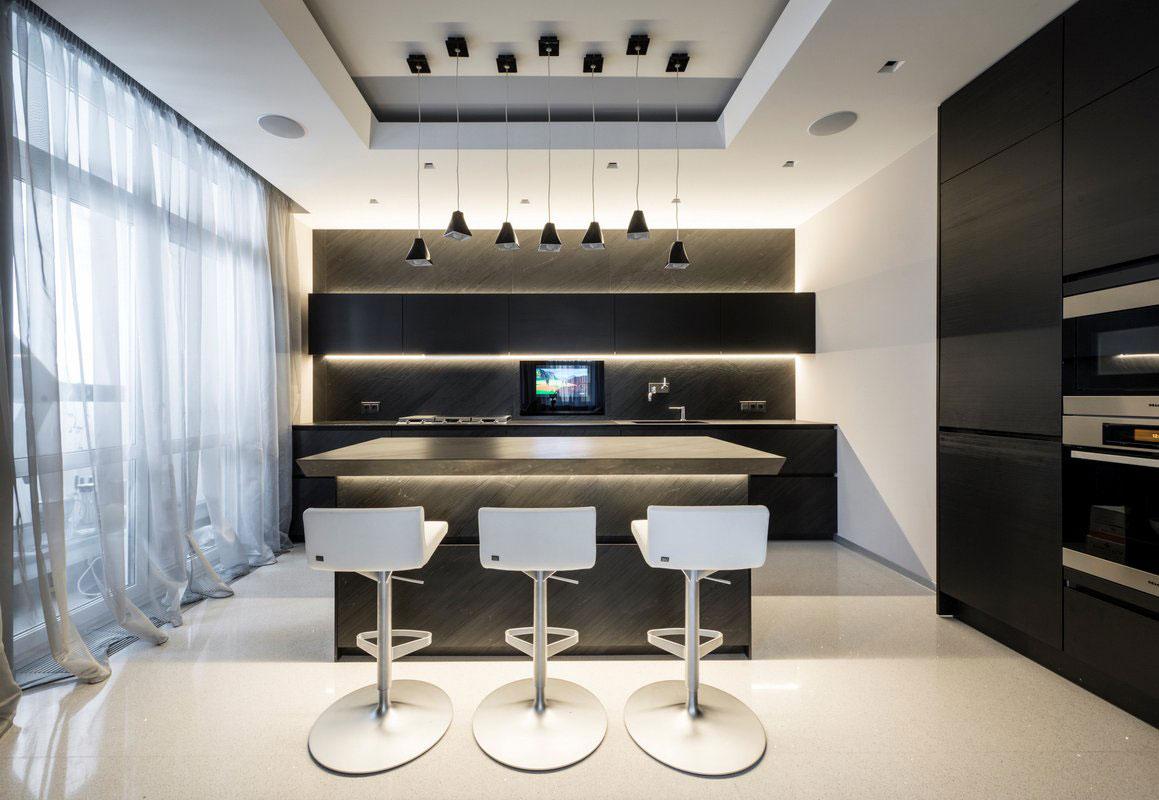Dise o de departamento de tres dormitorios cuenta con una for Cocinas para departamentos modernos