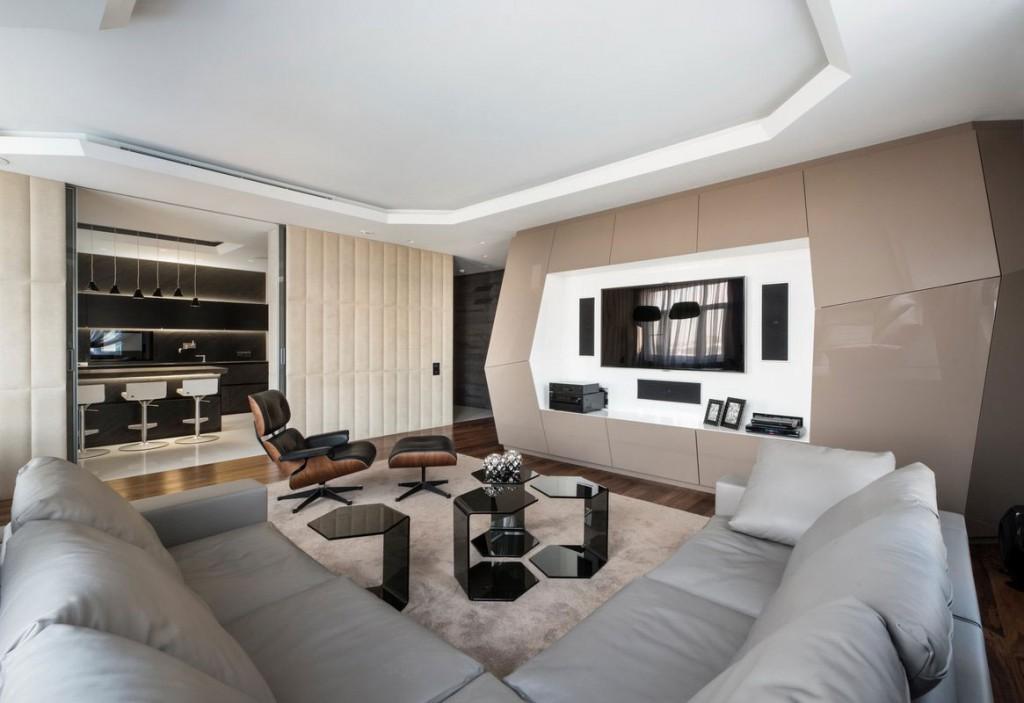 Diseño de sala estar moderno de departamento