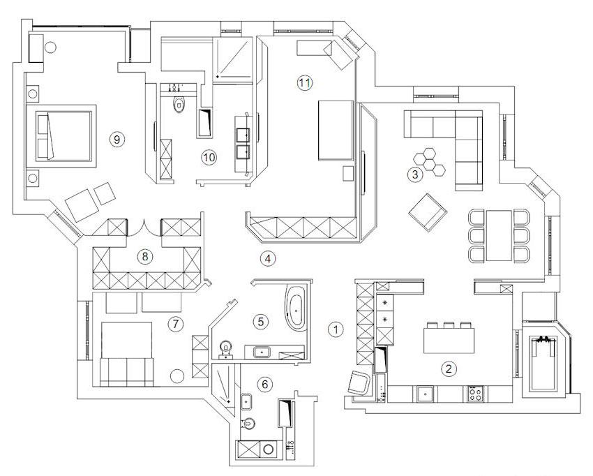 Plano de departamento grande de tres dormitorios