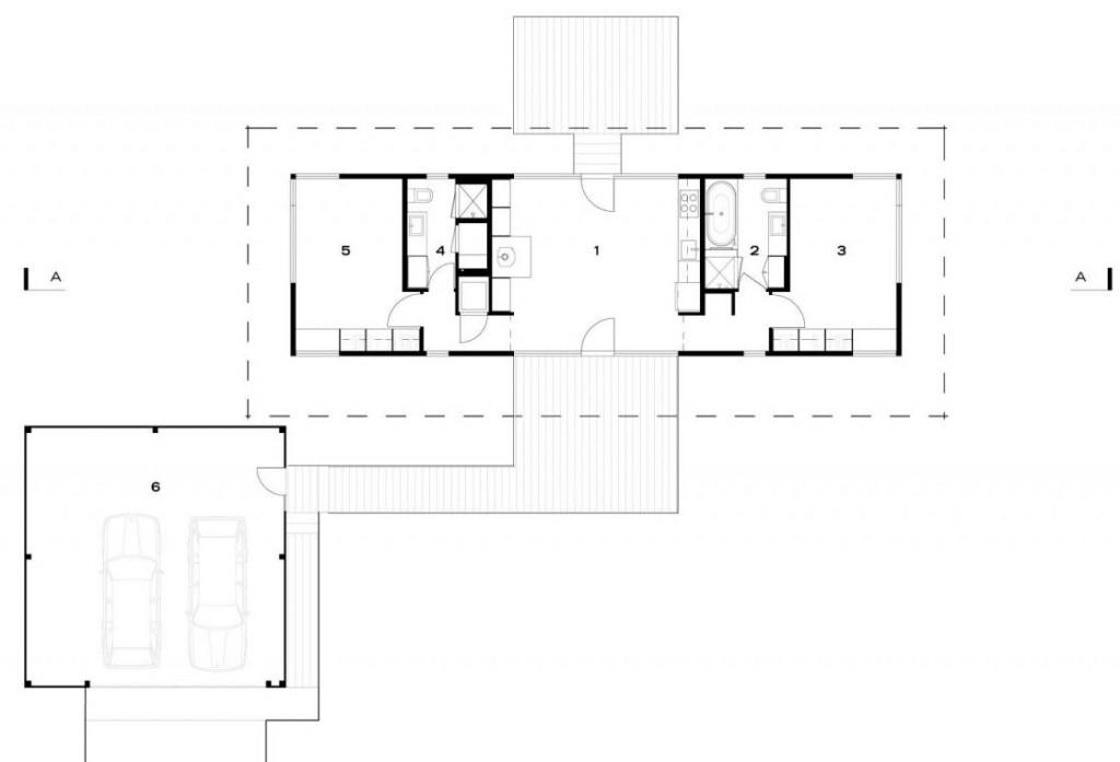 Planos de casa de campo de dos dormitorios