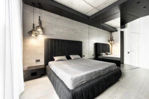 Decoración de interiores de dormitorio moderno