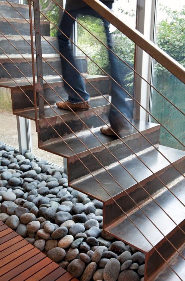 Detalle de acero en escalera