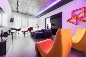 Diseño de sala de departamento ultra moderno