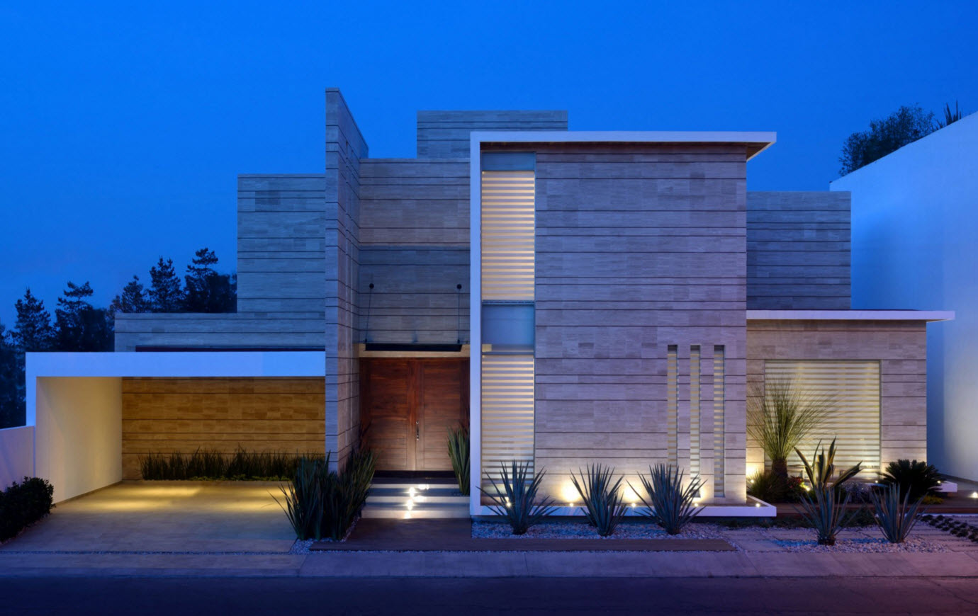 Moderna casa de dos pisos con fachada de m rmol por ji - Fachada de casa ...