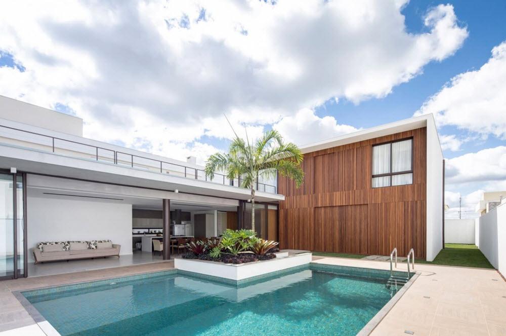 Planos casa moderna dos pisos forma l planos de arquitectura for Casas con piscina interior fotos