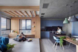 Interior de la moderna sala - cocina