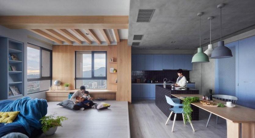 Interior de la moderna sala cocina planos de arquitectura for National homes corporation floor plans