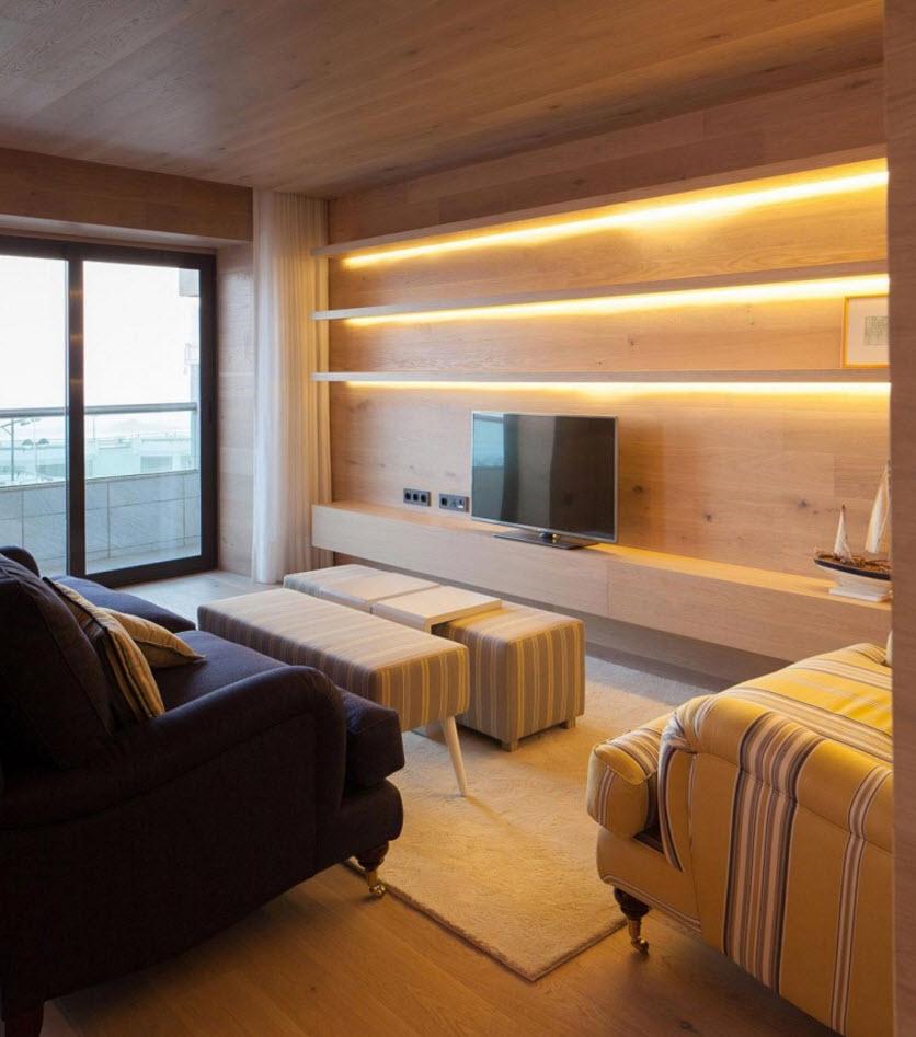 Diseño interior de moderna sala con madera