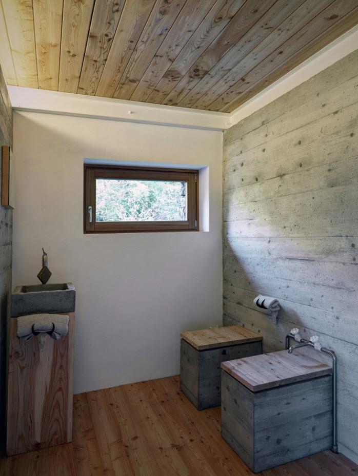 Mobiliario en concreto y madera