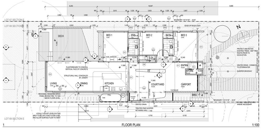 Casas de un piso 119 metros cuadrados planos de arquitectura for Planos de casas con medidas