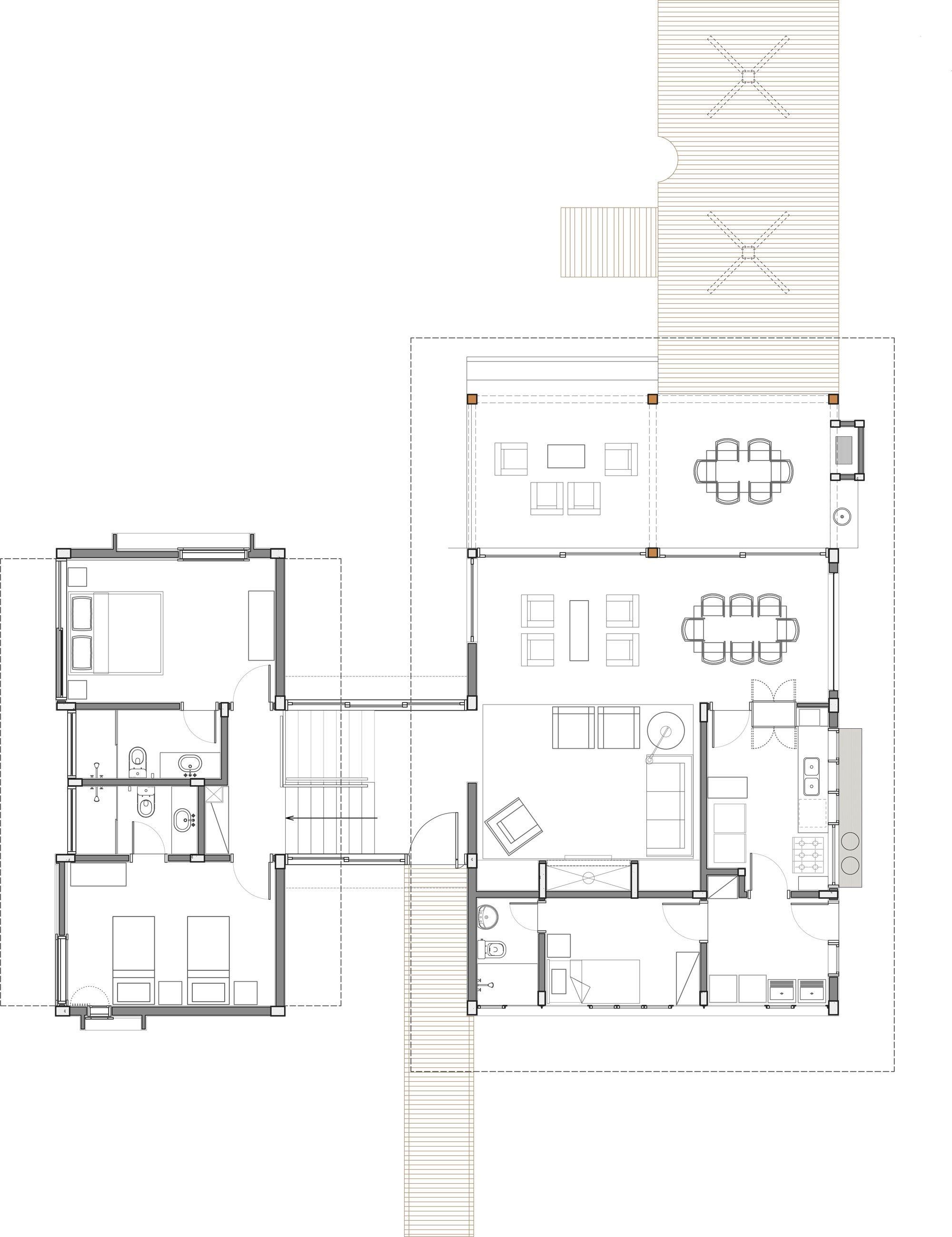 Casa de campo de madera y hormig n de 280 metros cuadrados for Plantas arquitectonicas de casas
