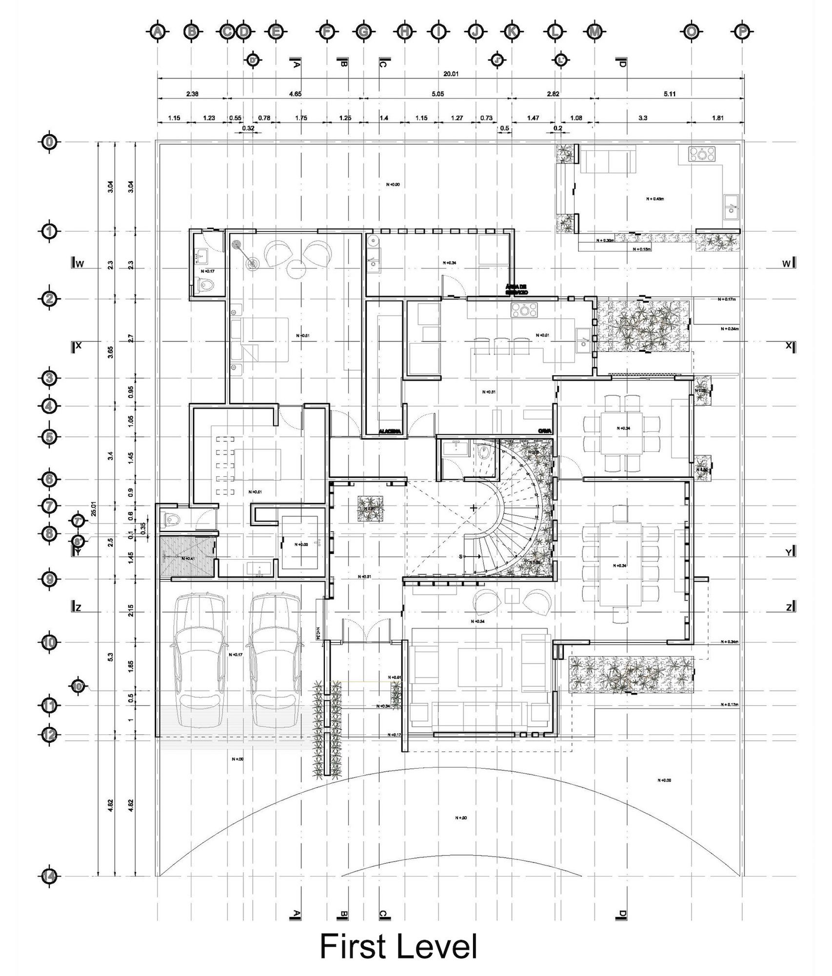 Plano de casa moderna de dos pisos primer nivel planos for Arquitectura de casas modernas planos
