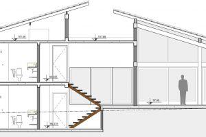 Plano de corte casa dos pisos
