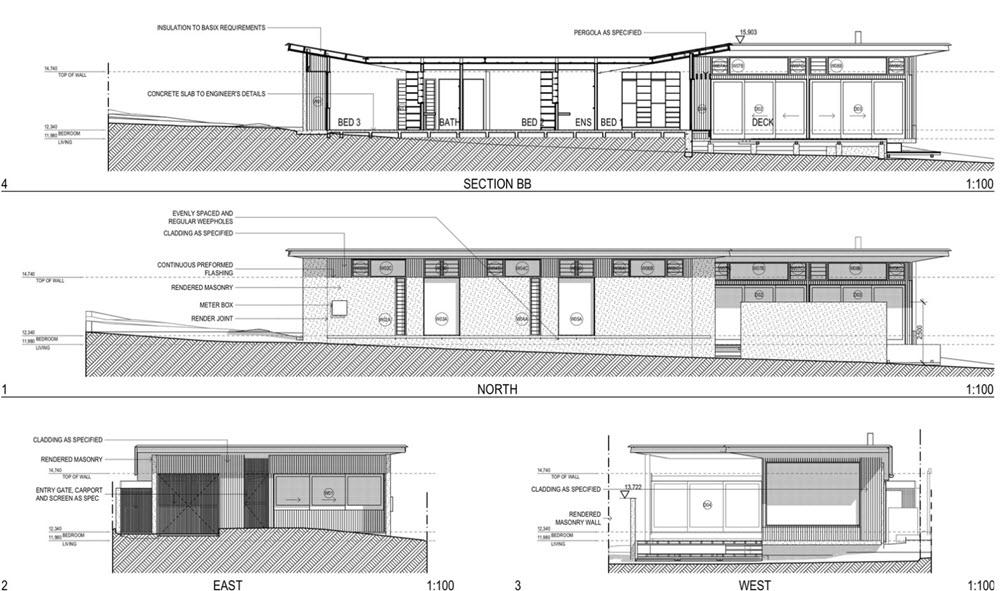 planos de cortes y elevaciones planos de arquitectura