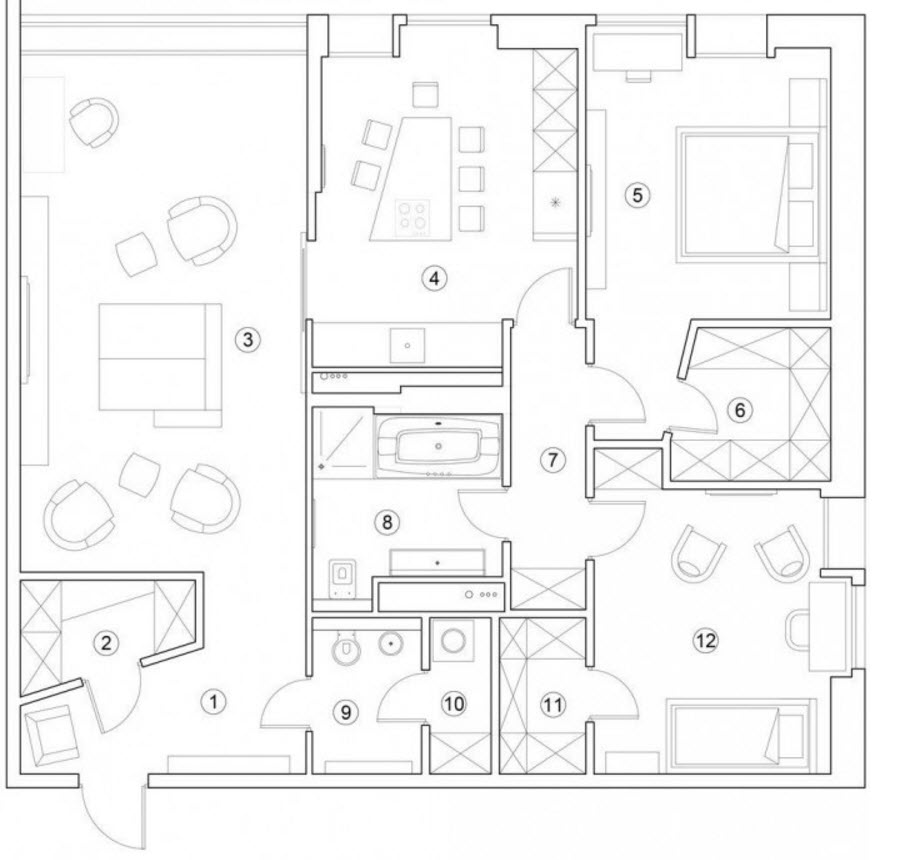 Departamento moderno 117 metros cuadrados planos de Planos de dos dormitorios