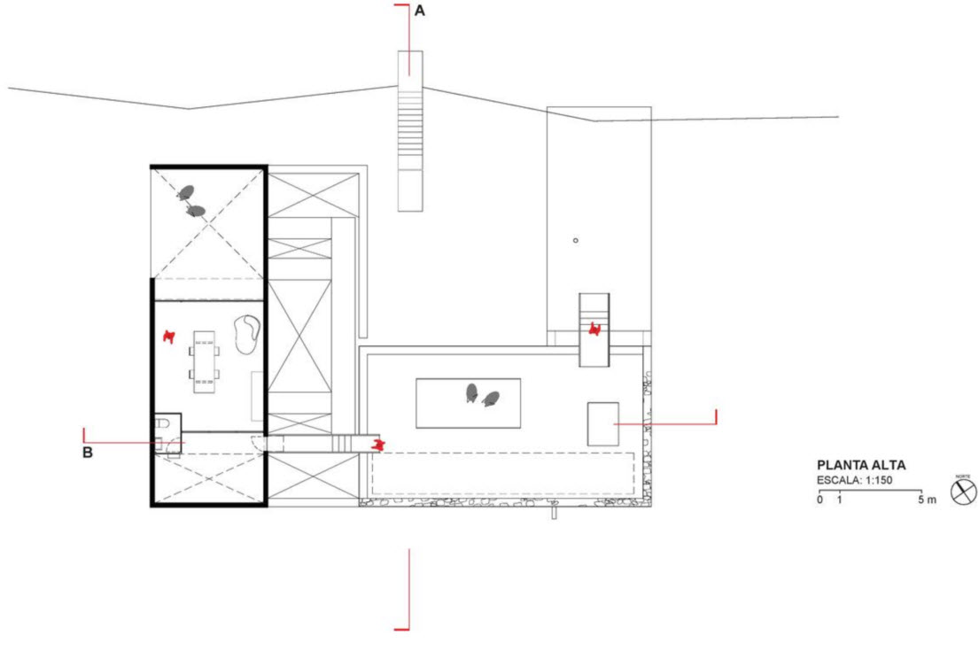 Plano del segundo piso de la casa de campo
