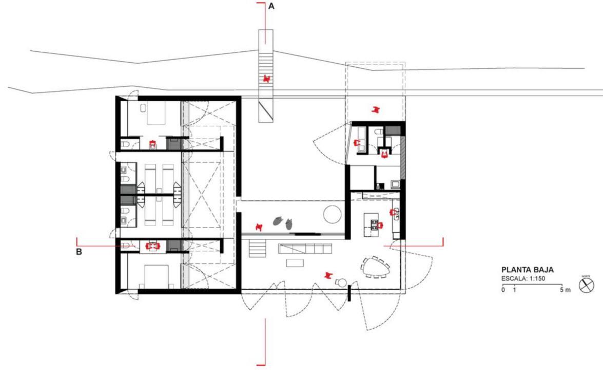 Dise o de casa de campo construcci n se mimetiza al for Planos de casas de campo rusticas