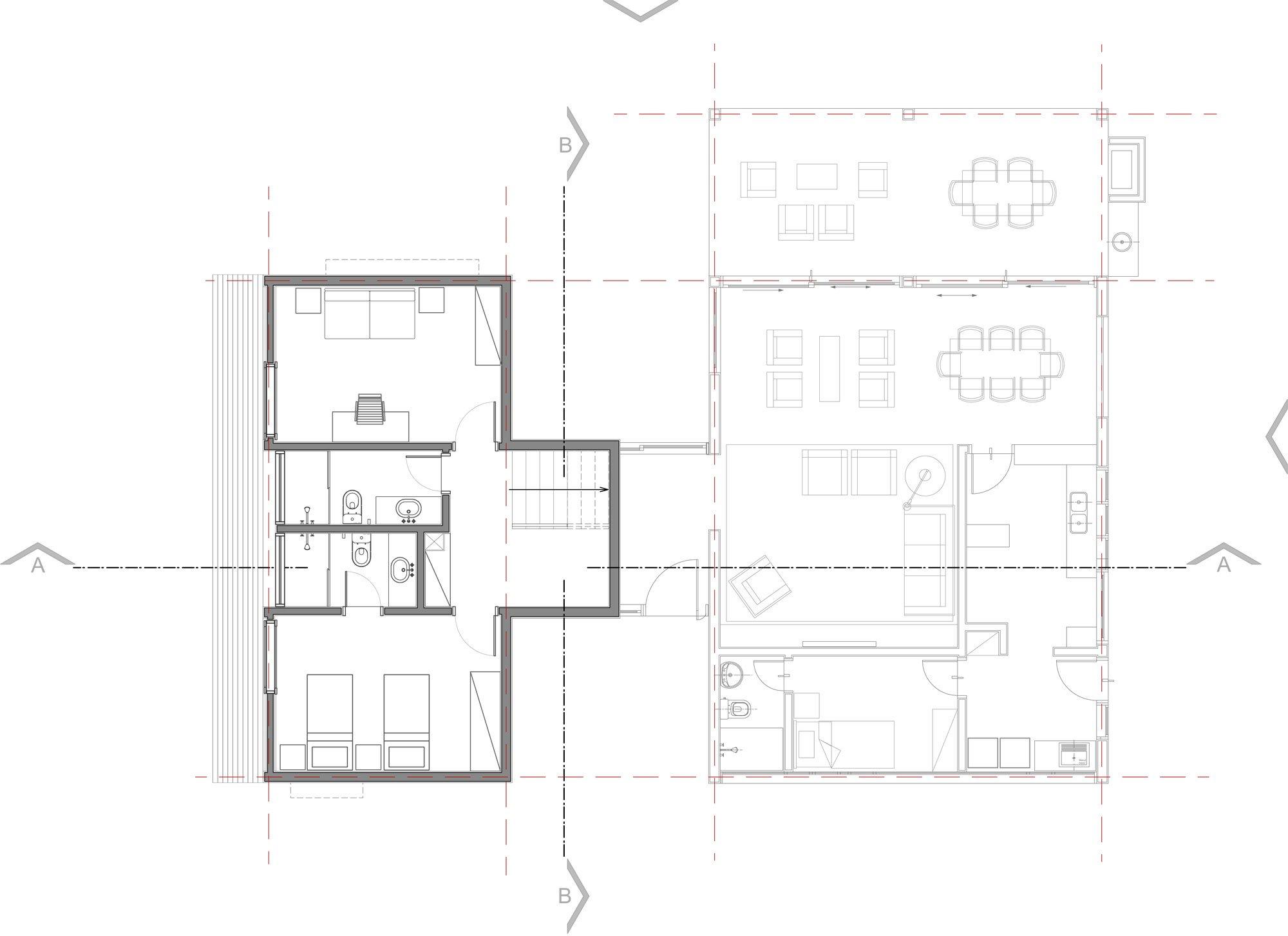 Plano segundo piso de casa moderna de campo