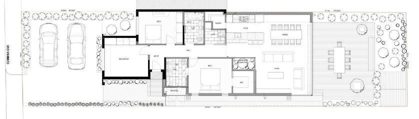 Dise o casa de un piso dos dormitorios planos de - Casas estrechas y largas ...