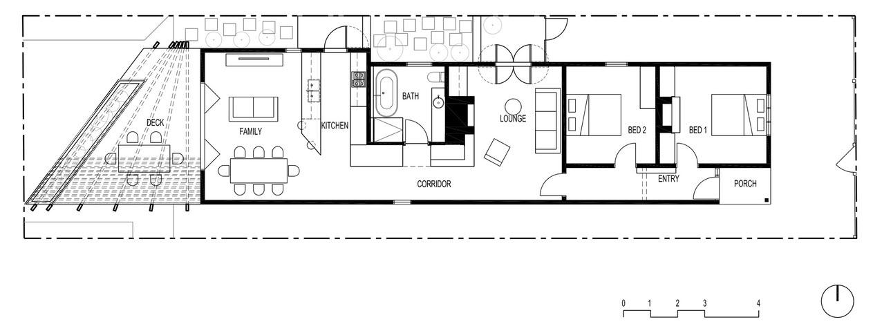 Casa peque a de dos dormitorios planos de arquitectura for Casas angostas y largas interior