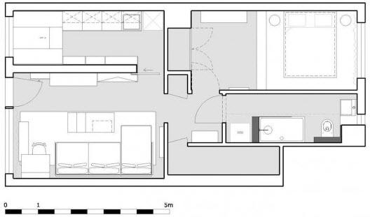 Departamento de 45 metros cuadrados planos de arquitectura for Diseno de apartamentos de 45 metros cuadrados