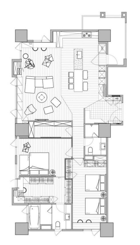 Departamento de 150 metros cuadrados planos de arquitectura for Arquitectura planos y disenos