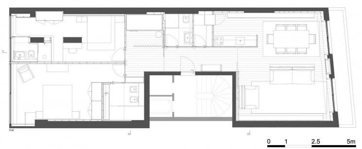 Plano de planta departamento dos dormitorios