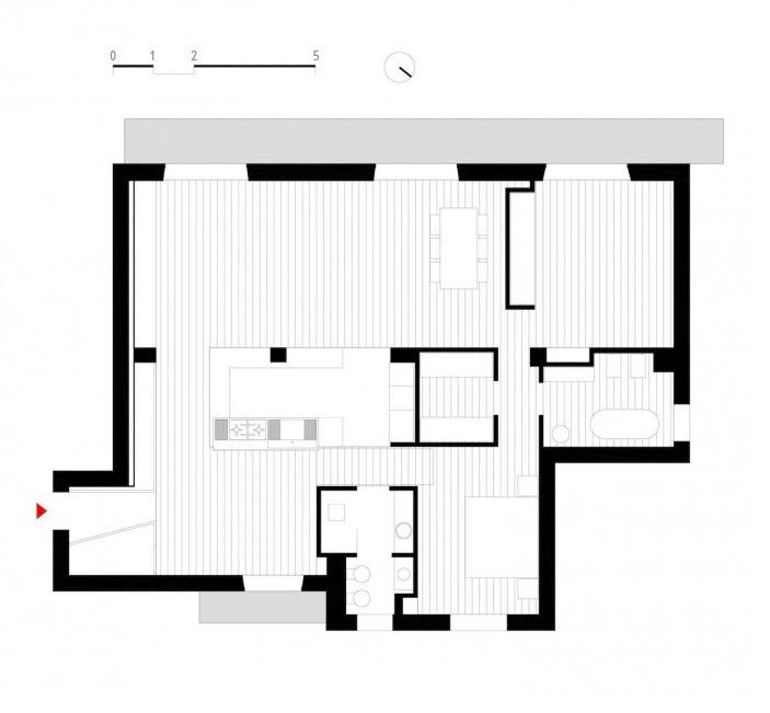 Plano de planta de departamento de dos dormitorios