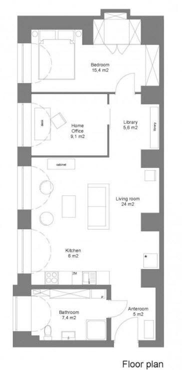 Plano de planta del pequeño departamento