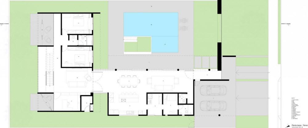 Planos casa moderna dos pisos forma l planos de arquitectura for Arquitectura de casas modernas planos