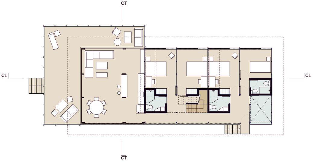 Plano de casa de playa de dos pisos - primer nivel