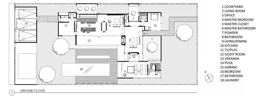 Plano de planta de casa de dos pisos en forma de L