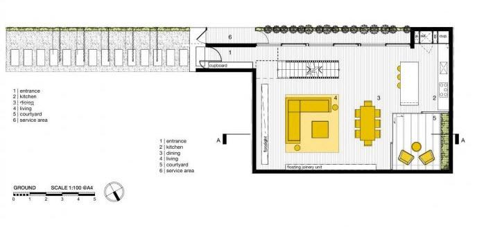 Plano de primera planta de la pequeña casa