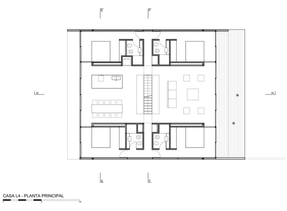 Plano casa de un piso forma cuadrada