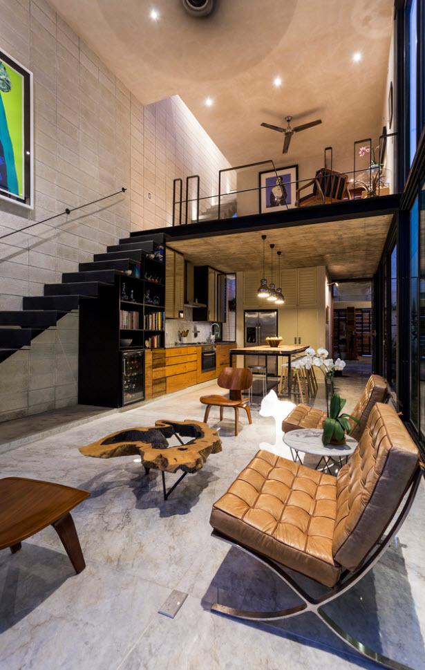 Sala moderna con doble altura