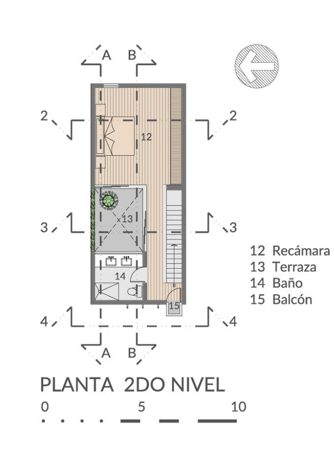 Tercer nivel de la casa angosta
