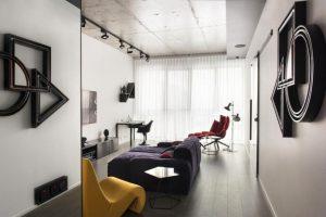 Vista de la sala de apartamento moderno