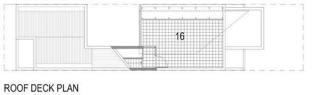 Plano de azotea de casa construida en terreno pequeño