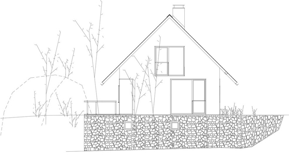 Peque a casa con techos a dos aguas planos de arquitectura for Formas de techos para casas